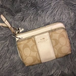 Coach White Signature Wristlet